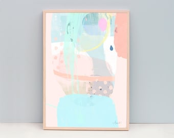 "A3, 11x14"", A2, 40x50cm, 28x38""- Abstract Print - Pastel Color Modern Art - Abstract 95 - In Tune - Mint Green or Yellow Option"