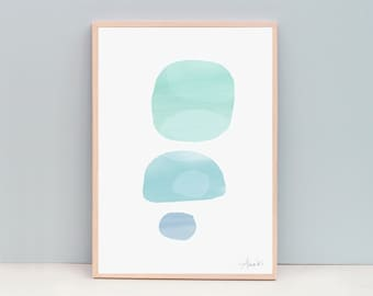A3 Abstract Painting - Watercolor overlays, three circles, soft green, mint