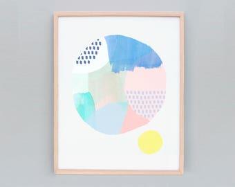 "8x10"" Abstract Print, Small Abstract Art, Modern Art Painting, Australian Art, Blue Art Print, Wall art, Name: Abstract Circle 105"