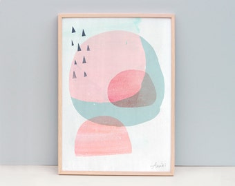 Mid Century Art, Scandi Print, Pink Scandinavian Art, Modern Abstract Wall Prints, Pink Art, Scandinavian Inspired Art, Pink Circle Art