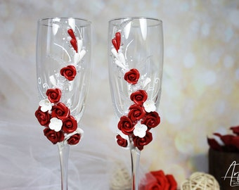 Wedding glasses Red Roses-White&red Wedding toast flute-Pearls Wedding champagne glasses-Wedding gift glasses-Floral Wedding toast glasses