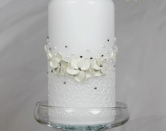 Wedding Pillar Candle with beautiful white flowers handmade-White wedding unity candle-Floral Wedding-Wedding gift-Candle ceremony