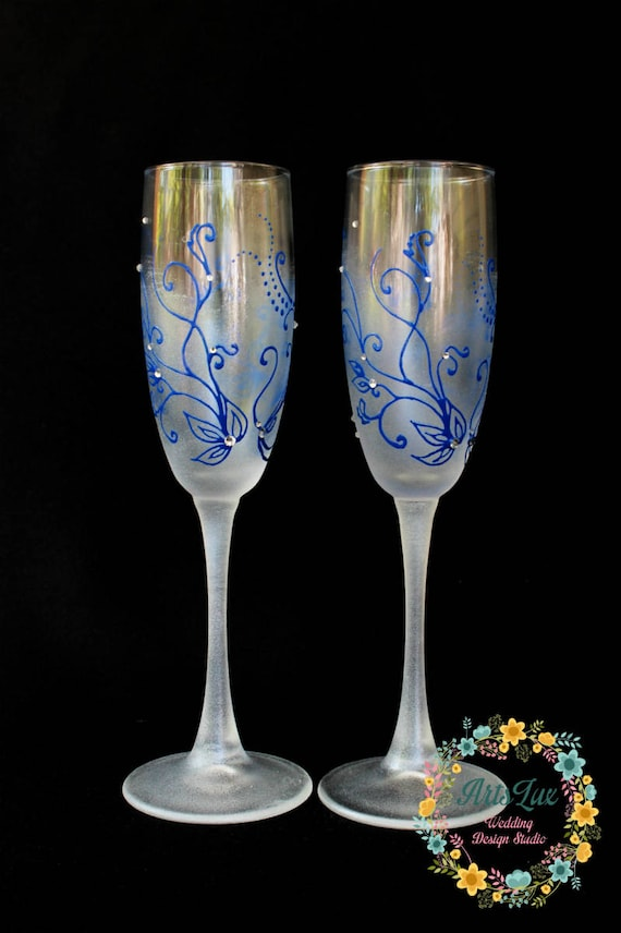 Frosty Wedding Champagne Glasses Hand Painted Dark Blue Etsy