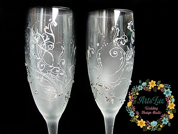 Frosty Wedding Champagne Glasses Hand Painted Silver Wedding Etsy