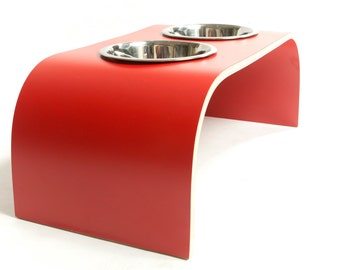 Red Raised Dog Bowl Stand - Shell Finish available in various sizes