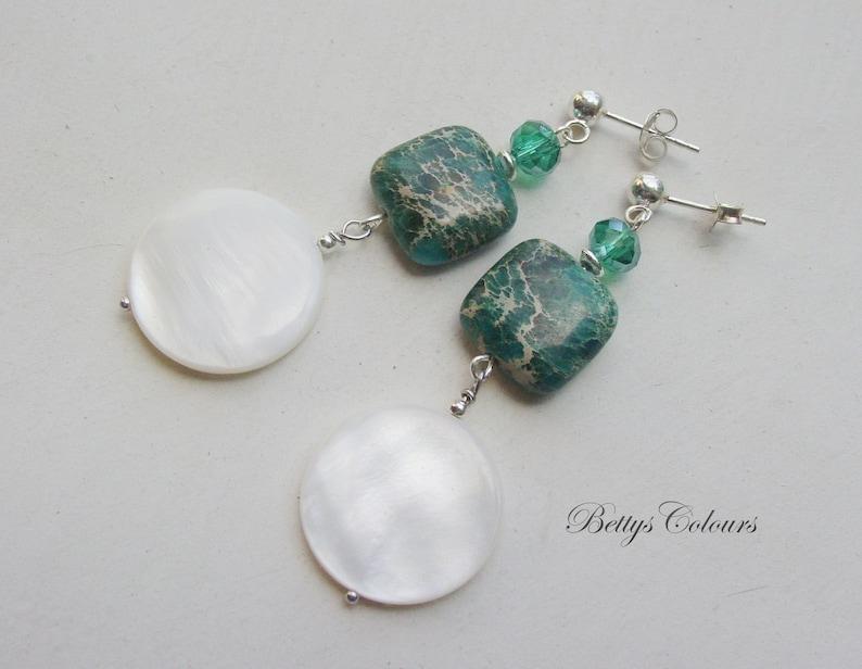 crystal earrings green earrings jasper earrings Mother of pearl earrings sterling silver earrings dangle earrings
