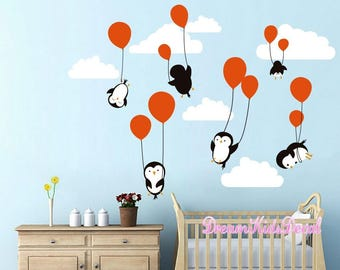 Penguins Penguin Cloud Balloon Wall Decal, Wall Decals Nursery, Baby Wall  Decal, Kids Wall Decals, Peel And Sticke Decal For Children DK025