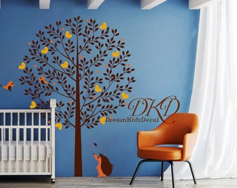 Tree with Birds wall decal, Nursery Tree Decal, Kids room wall decoration, baby room decal, hedgehog, nature forest animals-DK210