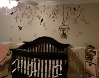 Tree wall Decal Wall Sticker Baby Nursery Decals,Floral Tree branch with birds, Birdcage-Cherry Blossoms Tree Decal-DK267