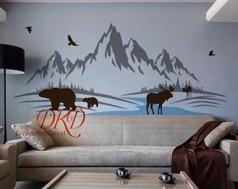 Mountain Decal, Mountain wall art, Nursery Decor, Woodland Baby room Jungle, Moose, Deer, Birds, Mountain, Forest wall decal-DK146