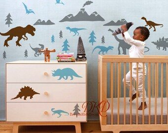 Peel and Stick Wall Decal Set Dinosaur with Pine Tree f90027e114