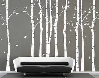 Wall Decals,White Trees Decals, Nature Wall Decals, Vinyl Wall Decal,  Nature Wall Decal Stickers, Birch Tree, Nursery Wall Stickers DK067