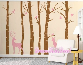 Woodland Wall Decal, Nature Wall Decals, Vinyl Wall Decals, Wall Stickers,  Deer, Birch Tree, Nursery Wall Stickers Deer In Forest DK203