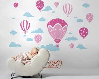 Hot Air Balloon Nursery Decals, Hot Air Balloon And Cloud Decal Removable Wall  Stickers Kids Bedroom Nursery Decor Peel And Stick DK339