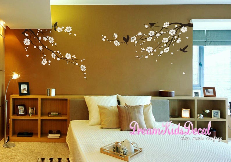 Cherry Blossoms Tree Wall Decal Floral Branch Decal with birds Birdcage-DK130 Cherry Branch Wall Sticker for Home Decor