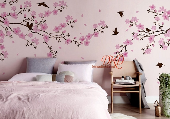 Red Cherry Blossom Tree Fabric Wall Decals Tree Wall Decal with Flowers