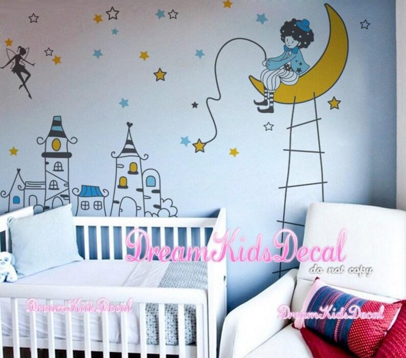 disney castle vinyl wall decal sticker kids name vinyl wall | etsy