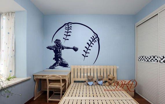 Baseball Decal Baseball Wall Decal Vinyl Decal Baseball Wall Etsy