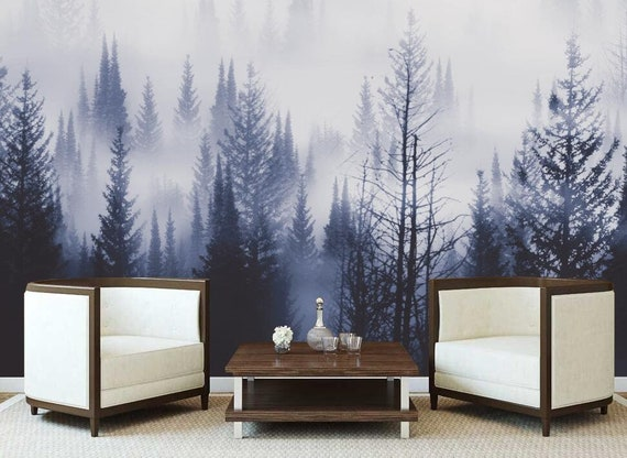 Tree Wall Mural Nursery Wallpaper Wall Mural Forest Pine Tree in in the fog light Self-adhesive Home Decor Modern Wall Art-140 x 87