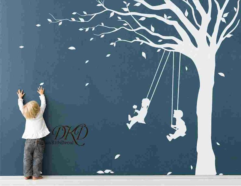 Boy Nursery Daycare Tree Swing Lucky tree with dog for Girls Nursery-Vinyl wall decal Wall sticker Home arts-DK125 Swing Wall Decal