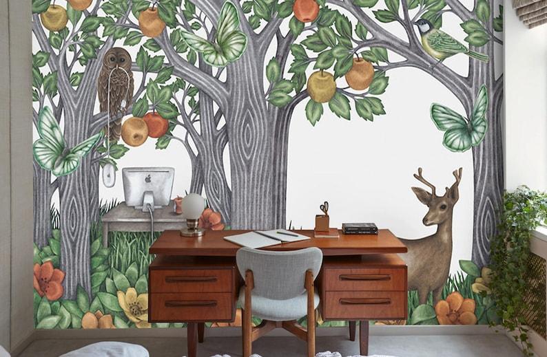 Behang Boom Kinderkamer : Zelfklevende muur muurschildering behang voor de kinderkamer etsy