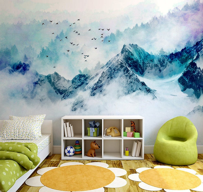 Forest with Birds Chinoiserie Blue Mountain Landscape Wall Mural Mountain shape outlines -126 x 87 Removable Watercolor Wallpapers Art