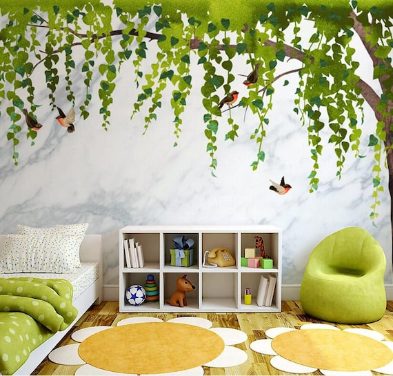 Marbled Tree Wallpaper Wall Covering Wall Murals Giant Tree With Two Colored Leaves Marble Background Ceiling Corner Tree Wall Art Decor