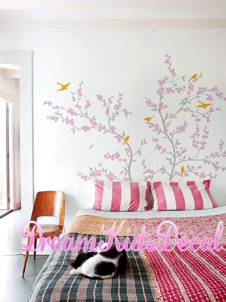 Wall Decal Cherry Blossom Tree Branch Wall Decals With Birds Etsy