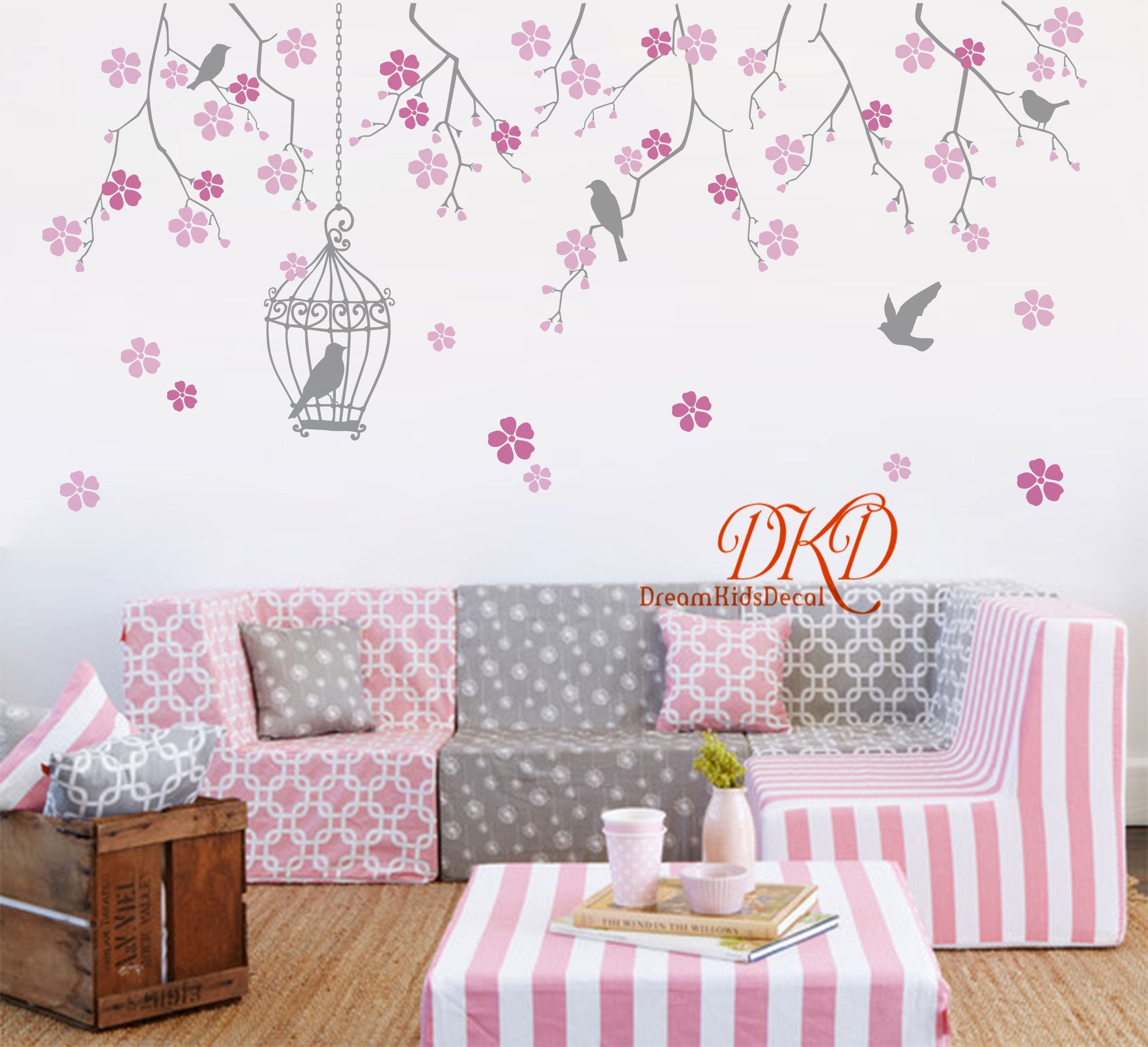 Tree Wall Decal Wall Sticker Baby Nursery Decalsfloral Tree Etsy