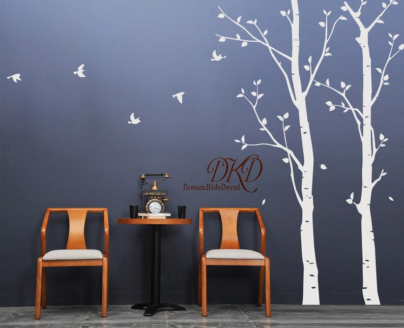 Leafy trees with fawn and birds wall decal sticker for nursery and home office