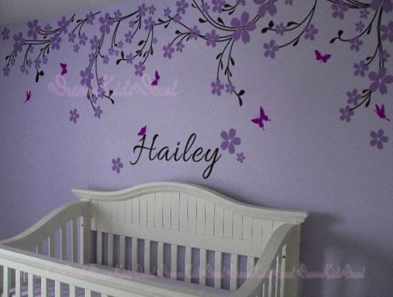 nursery wall decal baby girl and name wall decals cherry | etsy