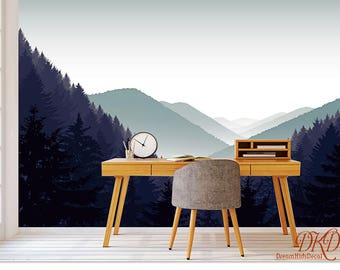 Mountain Wall Mural, Grey Misty Mountain Landscape Wallpaper, Mountain Silhouette Wall covering, Peel and Stick, Removable Room décor