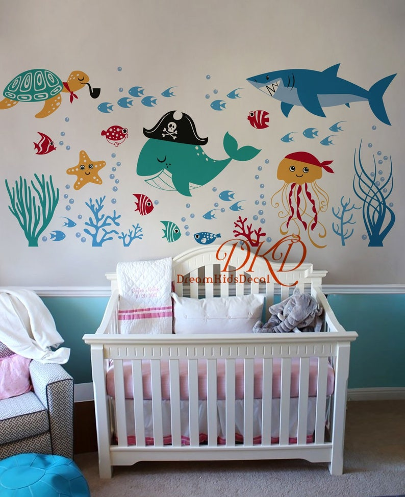 under the sea wall decal wall sticker for kids ocean nursery   etsy