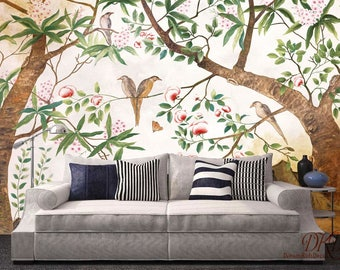 """Vintage Wallpaper, Watercolor Wall Murals, Hand-painted flower and bird, Family Tree Green leave Pink flower Chinoiserie Wall art-126"""" x 79"""""""