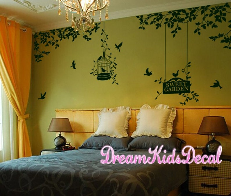 Wall Decals Nursery Wall Sticker Home Wall Decor-Side Corner branch with birdcage Tree with birds