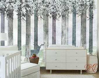 """Wall coverings, Grey Tree on Watercolor Cherry blossoms, Woodland Wall Mural, Deer in Forest, Large Wallpaper-126"""" x 79"""""""