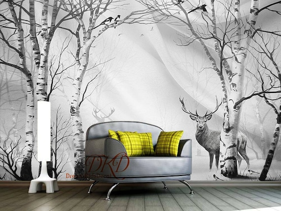 Birch Tree Forest In Winter Mural Peel Amp Stick Wallpaper
