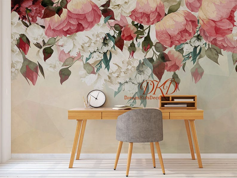 00c74525a Large Peony Flowers Mural Self-adhesive Wallcoverings