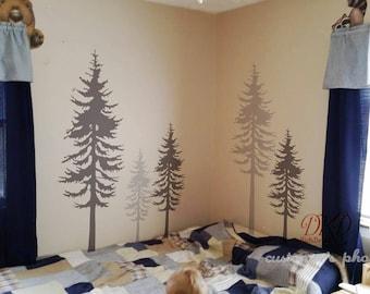 Pine tree wall decal, Pine tree decal, Tree wall decal-large set of 5 pine trees -DK045