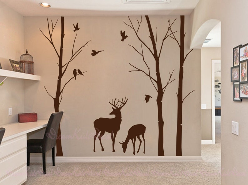 birch trees decals deer wall decals nature wall decals | etsy