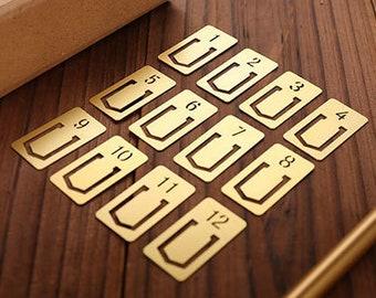 Brass Number Metal Bookmark - A set of 12pcs Traveler bookmark / Vintage metal bookmarks / Label holder