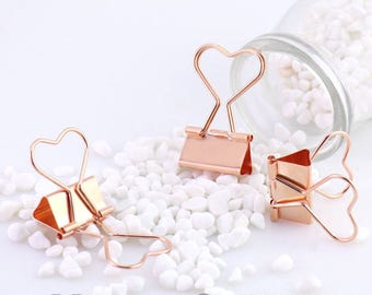 12pcs 25mm  Vintage Style Pink / Rose Golden Long Tail Clip / Binder Clip / Heart Tail Clip(C014)