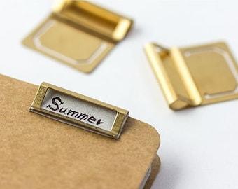 6pcs Brass Metal Bookmark Clip - Vintage Metal Clip Tag / Label Holder