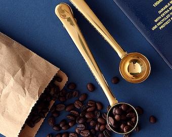 Vintage Golden Sealing Wax Spoon / Sealing clip with Spoon / Milk, Tea, Coffee Bean Spoon /  Measuring Spoon / INS Photography Props