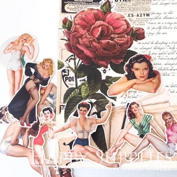 f1f32fae3 14pcs Vintage Sticker Sexy Lady Stickers Journal Ephemera
