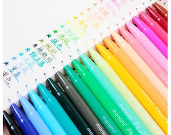 24 Color Korea Cute Stationery Gel Pen Set, Watercolor Marker Brush Pen Set for DIY Painting Drawing Text Liner, Scrapbook (PEN01)
