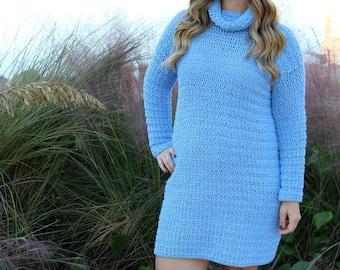 Sweater Dress Crochet Pattern, Crochet Sweater Dress, Edgewater Sweater Dress, Instant Download