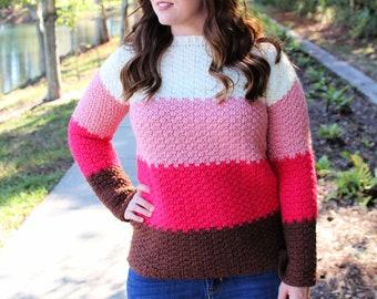 Crochet Sweater Pattern, Michelle Sweater, Instant Download