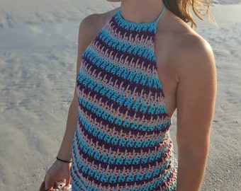 Crochet Pattern, Crochet Tank Top, Beachy Babe Halter Top, Instant Download