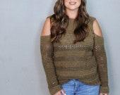 Cold Shoulder Sweater Crochet Pattern, Women 39 s Crochet Sweater, Calgary Cold Shoulder Sweater, Instant Download